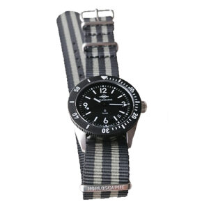 Bracelet NATO Nylon Gris Bicolore Rayé